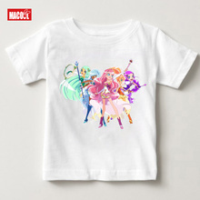 Free Shipping Children LoliRock Magical Girls Funny T Shirt Summer Baby Cute Short Sleeve Tops Kids Casual T-shirt 2019