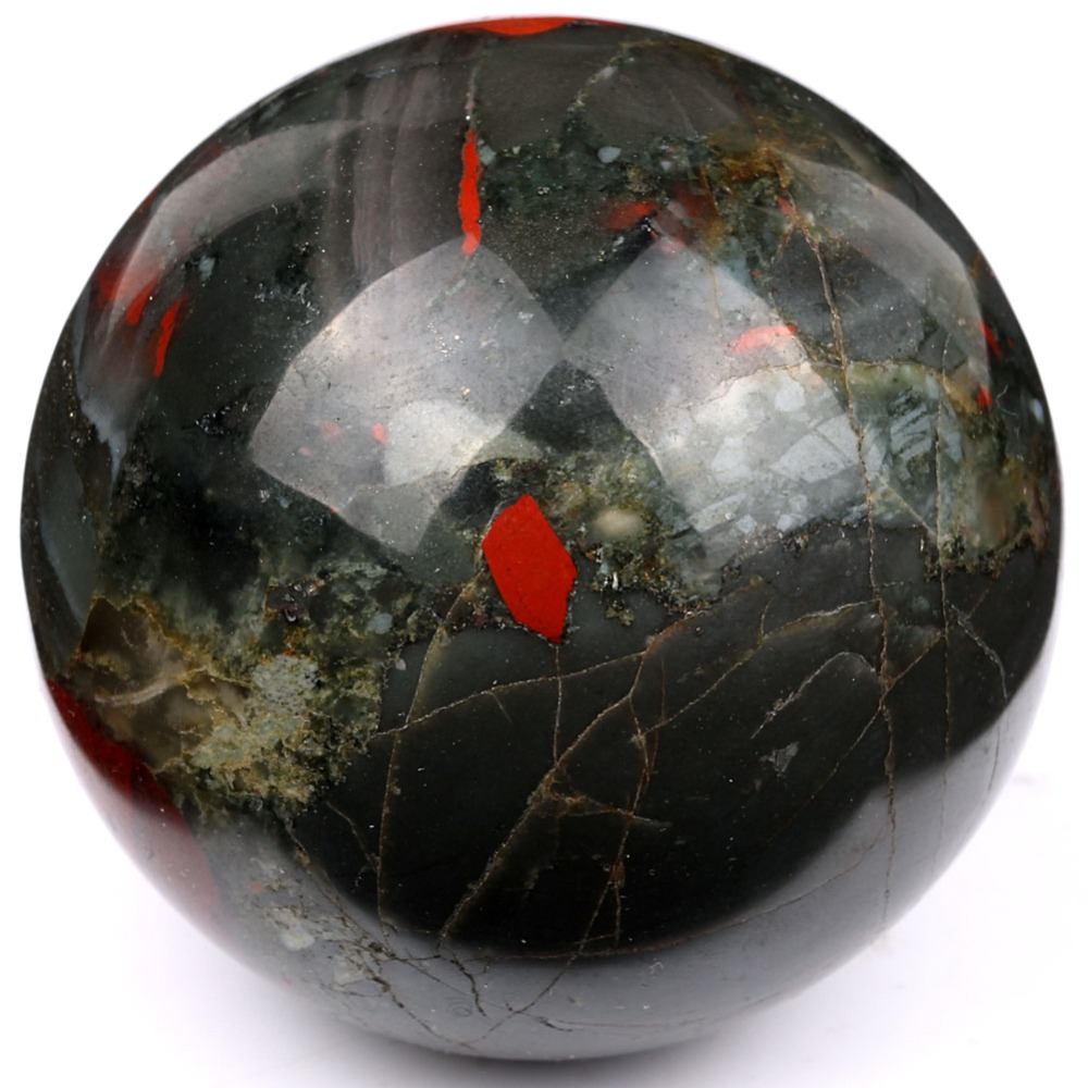 Natural 50mm Tumbled African Bloodstone Sphere Polished
