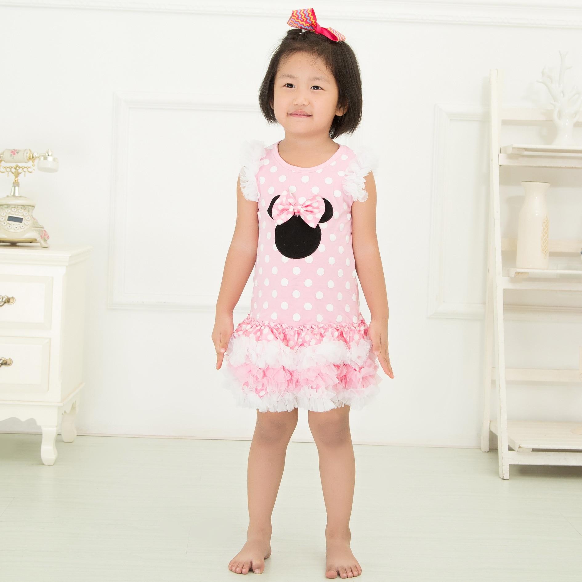 Kinder Mädchen Minnie Maus Kleider Pink/Weiß Polkapunktes Lagertes ...