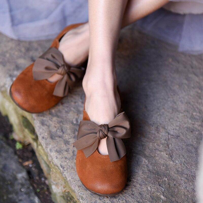 Artmu oryginalne damskie buty Butterfly Knot płytkie usta płaskie podeszwa oryginalne podeszwa z miękkiej skóry nowe, ręcznie robione buty na płaskiej podeszwie z okrągłym noskiem 3319 w Damskie buty typu flats od Buty na  Grupa 3