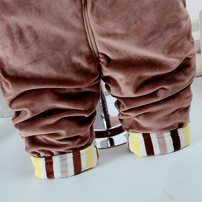 Купить с кэшбэком Autumn Winter Cartoon Bear Thicken Long Sleeve+Suspender Trousers 0-2T Baby Infant Boy & Girl 2 Pcs Overalls Children's Clothes