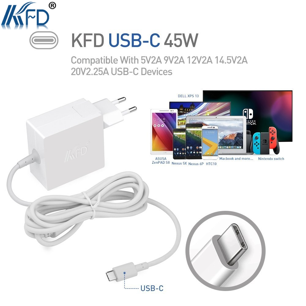 TUV listed KFD 45W PD USB Type-C AC Adapter For Xiaomi Air 2017th for HP Spectre x360 13 Elite x2 Spectre x2 YOGA 720 910 Yoga5
