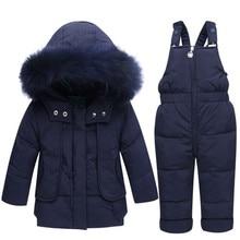 цена на Winter Children Clothing Sets Snow suit Jackets + Jumpsuit 2pcs Set Baby Boy Girls Duck Down Coats Toddler Girl Winter Clothes
