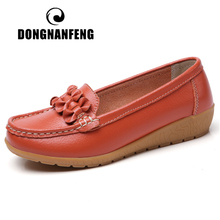 DONGNANFENG Women Ladies Female Mother Genuine Leather Shoes Flats Loafers Slip On Breathable Soft Bow Plus Size 41 42 JTS-169