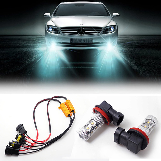 2 H11 LED Projector Fog Light DRL Canbus No Error with Load Resistor wiring harness For Mercedes W211 W212 W164 W221