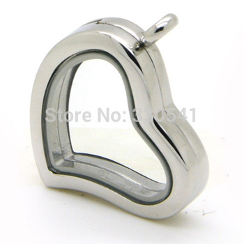 Fashion Design Glass Locket Pendant Stainless Steel Floating Locket Silver Magnetic Curved Heart Locket 10pcs