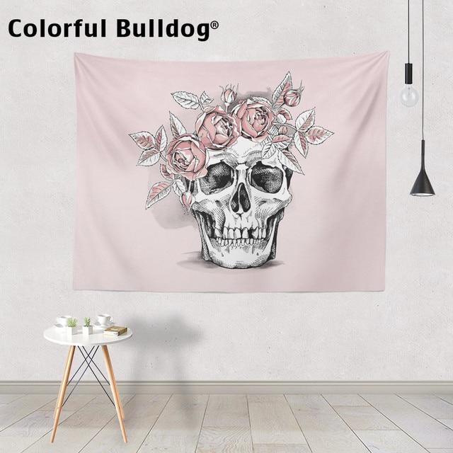 Schedel Tapestry Halloween Plant Magische Bos Muur Opknoping Mexicaanse Leuke Roze Rose Bloemen Crow Spreien Meditatie Slaapzaal