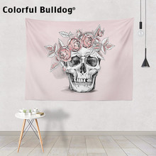 Skull Tapestry Halloween Plant Magic Forest Wall Hanging Mexican Cute Pink Rose Flowers Crow Bedspreads Meditation Dorm Room