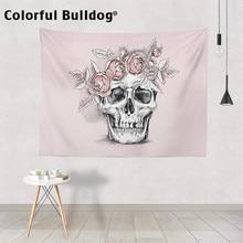 Tapisserie motif crâne dhalloween, décoration murale, plante magique, couvre lit, corbeau de fleurs roses et mexicaines, pour chambre de méditation