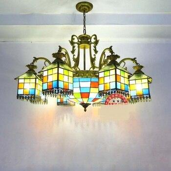 地中海スタイル6/8ヘッドペンダントライトレトロ光器具リビングルームライトロマンチックなバーペンダントランプZA1113552