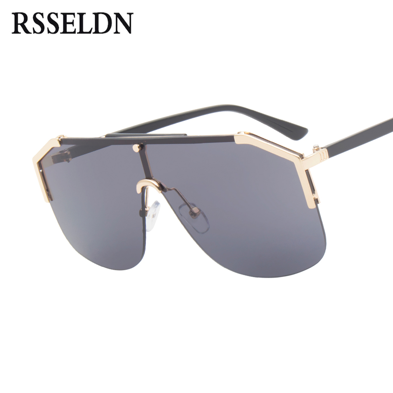 RSSELDN Oversized Sunglasses Women Semi-Rimless Fashion Gradient Lens Sun Glasses For Women UV400 Metal Men Shades High Quality