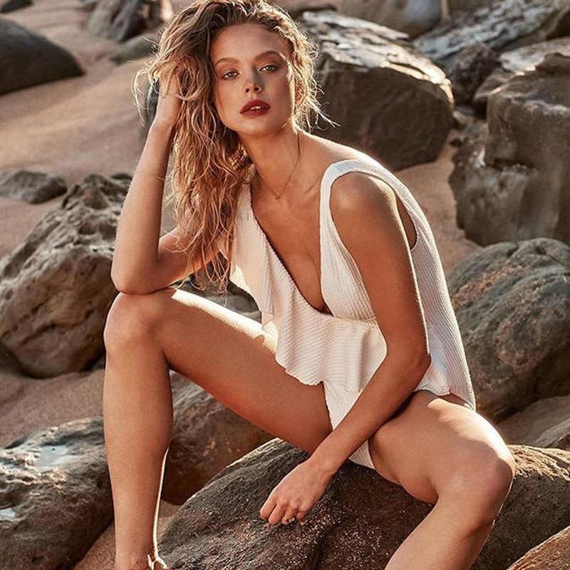 Sexy Deep V Ruffle One Piece Swimsuit Monokini May Women Fused Swimwear Female Beach Maillot De Bain Femme 2019 Une Piece
