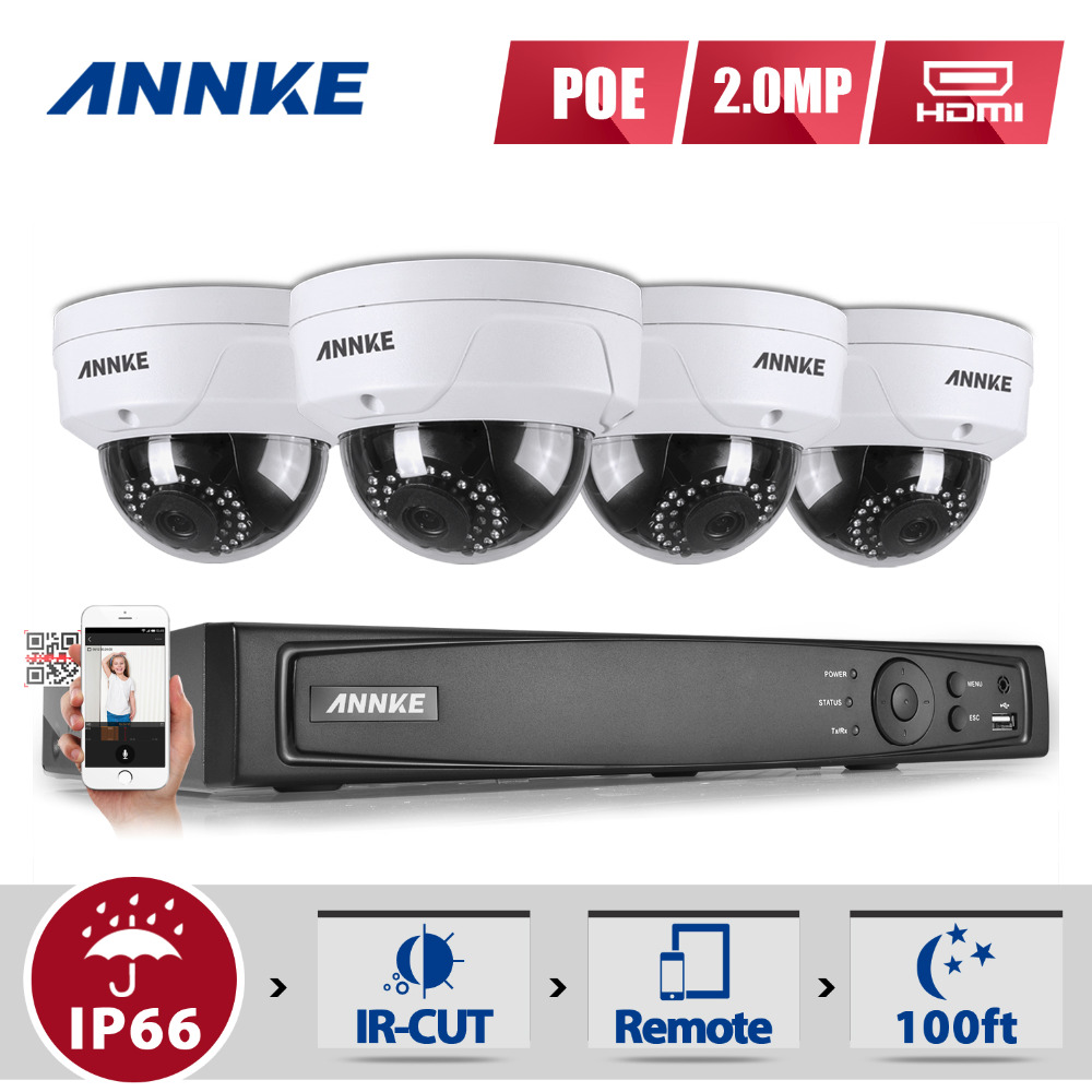 ANNKE HD 2.0MP 1080P 4CH H.264+ NVR IP Network PoE WDR IR CCTV Security Camera System 1080P Surveillance Kit proximity switch ps50 30dn new