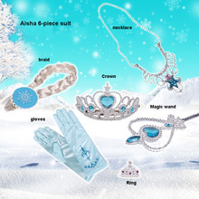 6Pcs/set 2 Styles Elsa Anna Cosplay toy Princess Accessories Crown Gloves Braid Wig Magic Wand Figure Toys Girl CosPlay