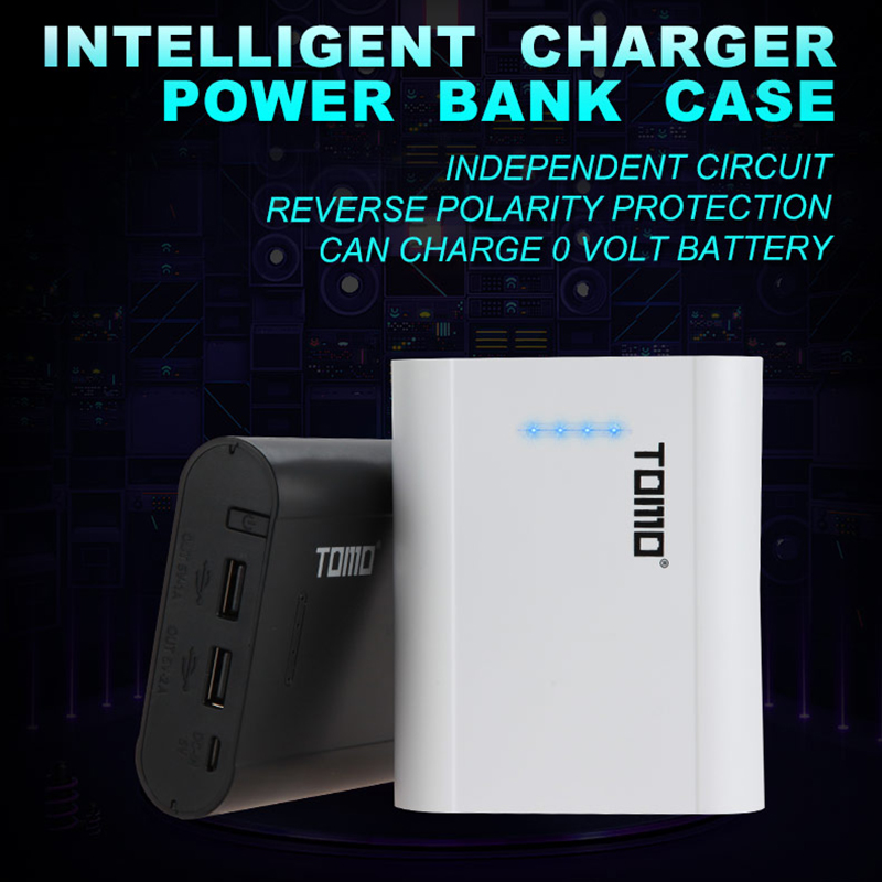 Tomo Poverbank <font><b>18650</b></font> Charger Case 2019 New P4 <font><b>4</b></font> Slots 5V 2A <font><b>Powerbank</b></font> Cases For <font><b>18650</b></font> Li ion Battery Smart LED <font><b>18650</b></font> Chargeur image