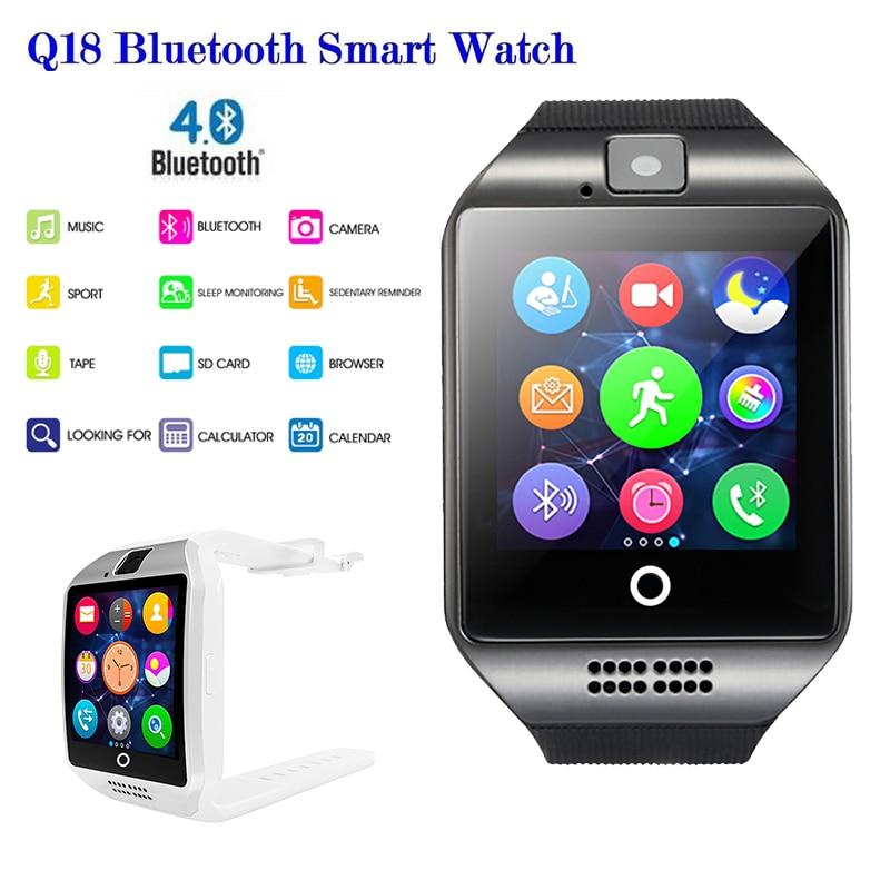Bluetooth relógio inteligente masculino q18 smartwatch passometer esportes rastreador suporte sim cartão smartwatch para android telefone pk a1 dz09