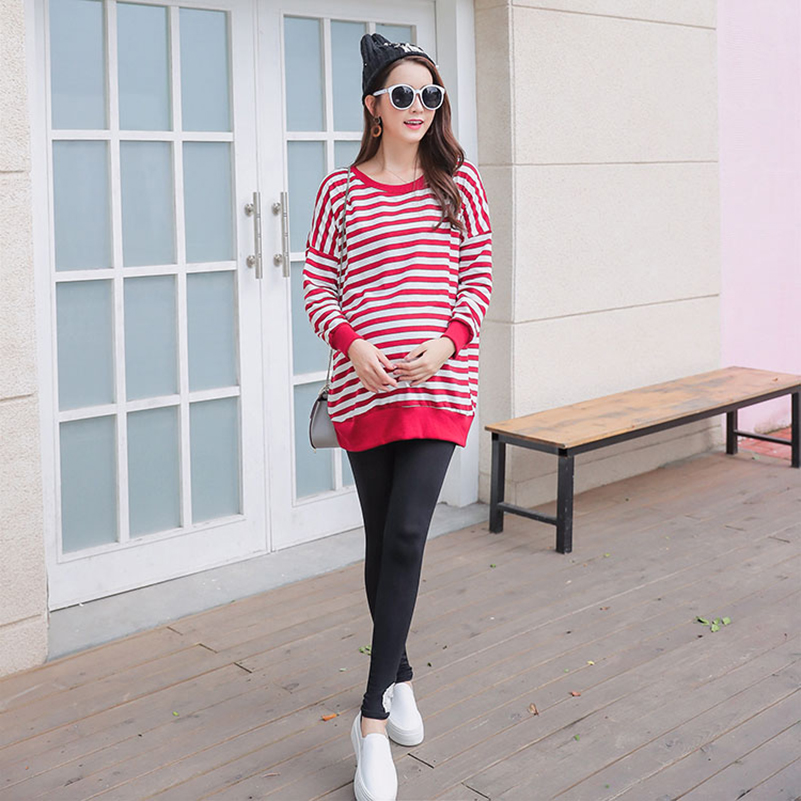 Hai Can Striped Nursing Dress for Pregnancy for Woman Breast feeding Dress Cotton casual pregnant women clothing Spring and Autu