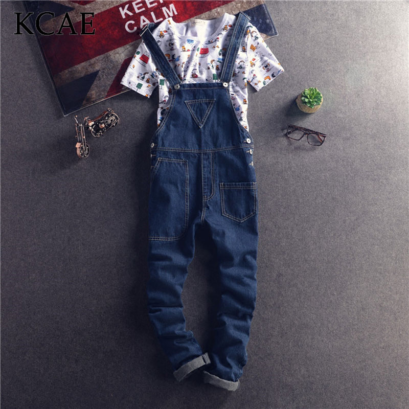 ФОТО Blue Denim Overalls Men 2016 New Brand Arrivals Male Jean Bib Pants Pocket Free Shipping Plus Size S-XXL