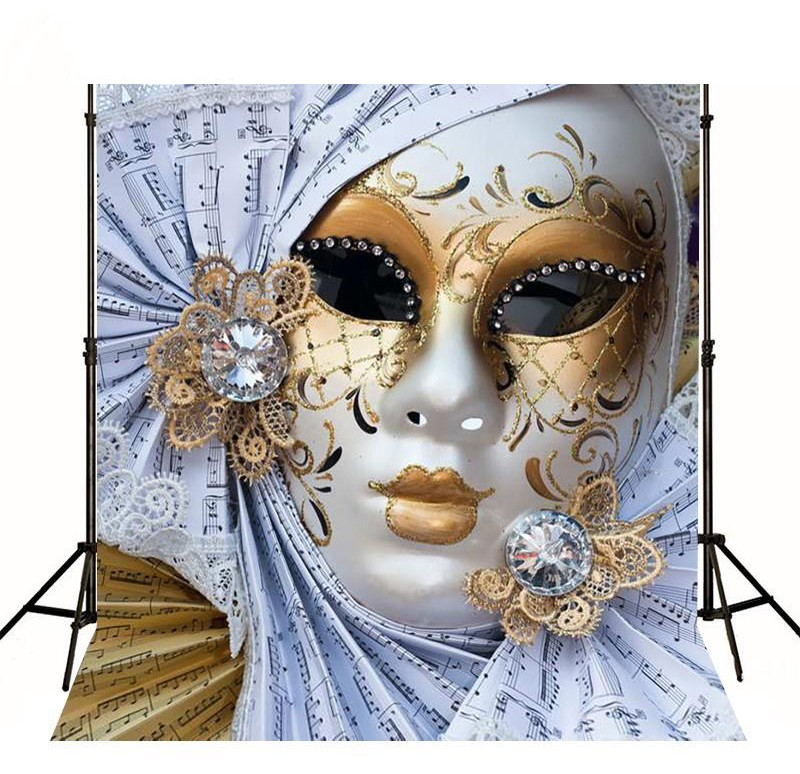 Elegant Charm Mask Mardi Gras Masquerade backdrops Vinyl cloth High quality Computer print party Backgrounds