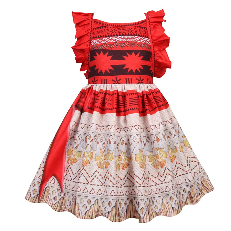 2018 Moana Kids Christmas Princess Dress Baby Girls Party Dresses Cosplay Costume Party Halloween