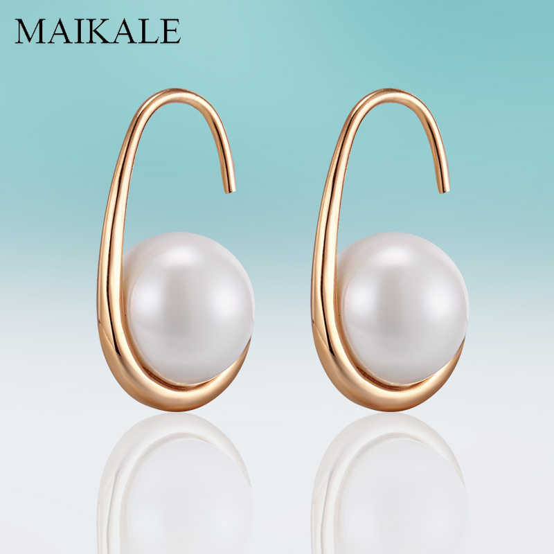 MAIKALE Simple 10MM White Pearl Earrings Gold Silver Color Hook Earrings with Pearl Stud Earrings for Women Jewelry Charm Gifts