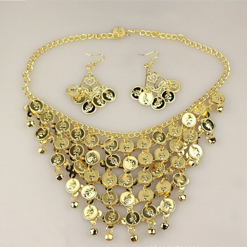 2016 Brand New Cheap Belly Dance Accessories Necklace With Earrings For Women Belly Dancing Props