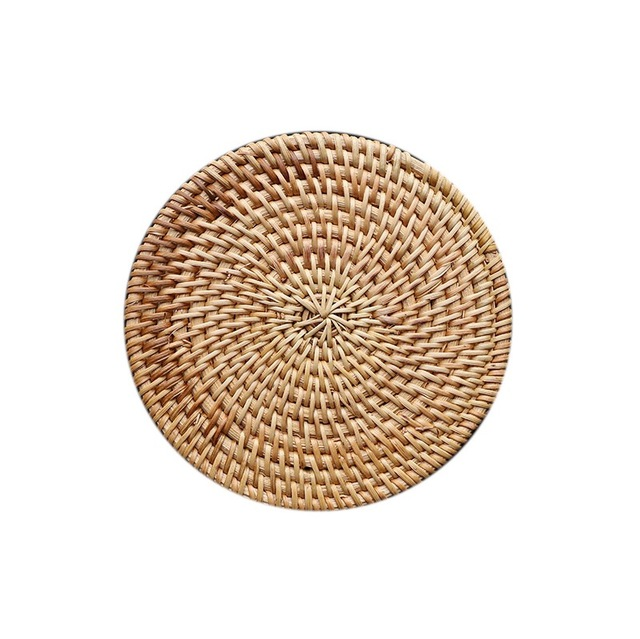 Ordinaire 2PCS/Lot Round Rattan Bowl Coaster Table Mats Placemats Dining Table Mats  Kitchen Bars Restaurant