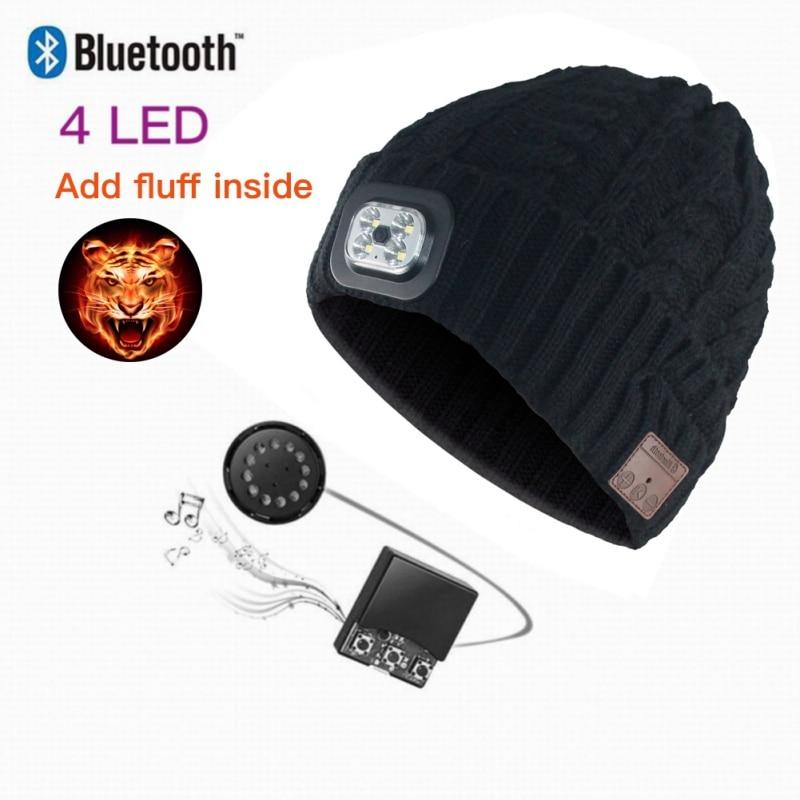 Wireless Bluetooth Earphone Cap Beanie Knitted Plus Velvet Winter Hat With LED Headset Mic Headphone Music Sport Smart Caps