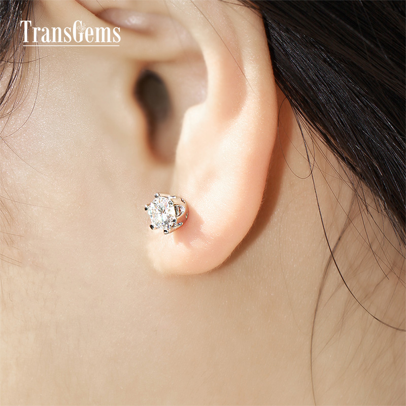 Transgems 1ctw 5mm Solid 14k White Gold Moissanite Stud Earring Back Lab Grown Diamond For Women Fine Jewelry In Earrings From
