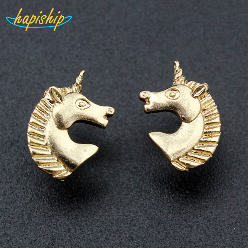 2015 New Hot Sell Women Fashion Jewelry Gold/Silver Tone Unicorn Stud Earrings ATC Cute Gift For Girls Lady Free Shipping