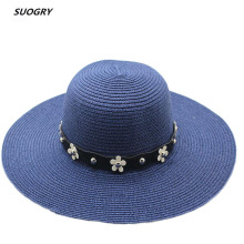 SUOGRY Fashion Flower belt Sun Hat Wide Brim Summer Beach 2018 New Arrival Good Quality Straw Cap