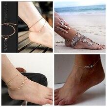 New Heart Female Anklets Barefoot Crochet Sandals Foot Jewelry Leg On Ankle Bracelets For Women Chain