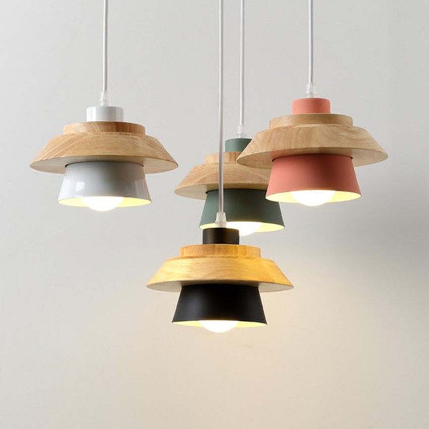 Modern Indoor lighting pendant lights Wood and aluminum lamp restaurant bar coffee dining room LED hanging