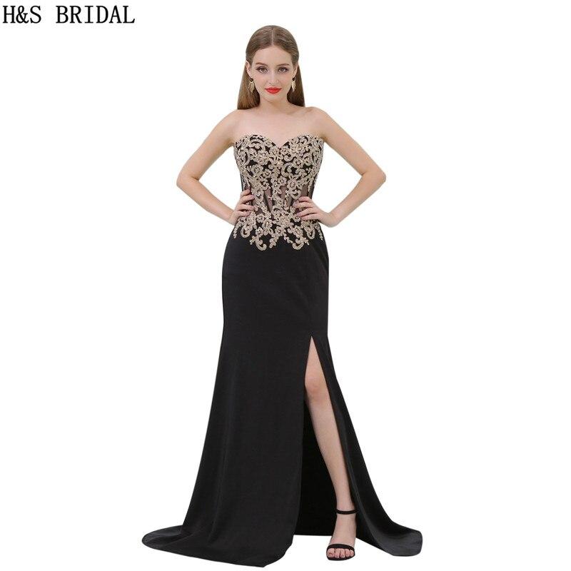 H & S BRIDAL Sweetheart Lace Applique Kralen Avondjurken vestidos de festa Chiffon Backless Avondjurk vestido longo