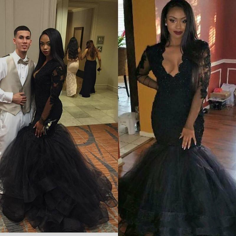 Sexy Black Mermaid Evening Prom Gown Deep V Neck Long Sleeves Beaded Applique Tulle Wedding Party Dresses