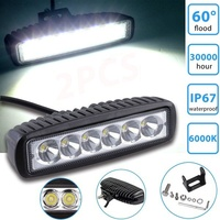 2pcs 18W DRL LED Work Light Bar Spotlights Flood 12V 24V LED Work Car Light For