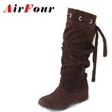 Airfour 4สีครึ่งรองเท้าผู้หญิงผู้หญิงรองเท้าฤดูหนาวรองเท้าลิ่มแฟชั่นรองเท้าเซ็กซี่รองเท้าหิมะอบอุ่นEURขนาด34-43