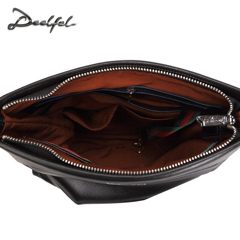 d9113ba3a3 DEELFEL Brand 100% Top Genuine Leather Men Bags Casual Slim Shoulder Bag  Business Travel Ipad Crossbody Bag for Male Cowhide Bag-in Crossbody Bags  from ...