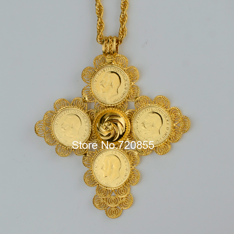 Ethiopia Big Coin Pendant Necklaces Women Real Gold Plated Jewelry Africa Crosses Ethiopian Cross Eritrea Necklaces