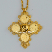 Etiopía Moneda Grande Collares pendientes Mujeres Oro Verdadero de La Joyería de África Cruces Etíopes Cruz Eritrea Collares #044302