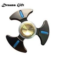 Fidget Spinner Hand Spinners Metal EDC Fluorescence Tri Spinner Finger Gold Black Figit Spinner Stres Fidget