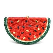 LaiSC Wassermelone Muster Abendtasche Diamant Luxus Kristall Handtasche Schöne Frucht Dame-parteihandtasche SC321