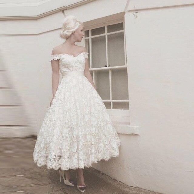 hochzeitskleider blanco vestidos de novia de encaje tobillo longitud