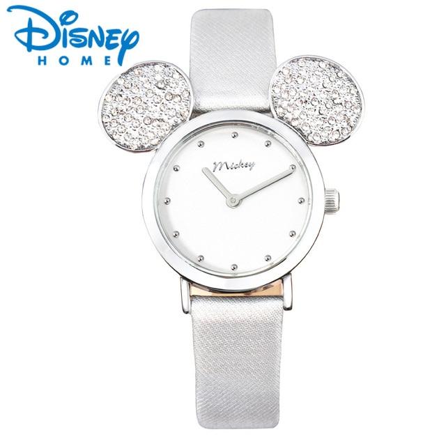 bcc87451ac Disney montre femmes Mickey Mouse or Rose femmes montres décontracté strass  étanche cuir luxe dames montre