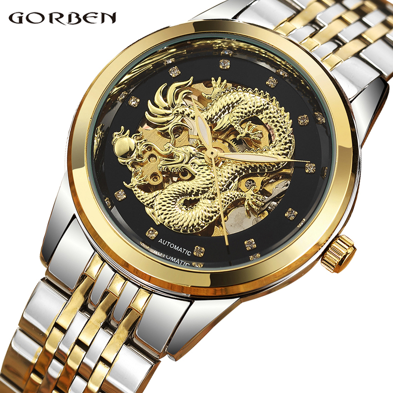 Top Luxury Men Waterproof Automatic Mechanical Wristwatches Dragon Skeleton Stainless Steel Strap Gold Clock Mens relogio цена