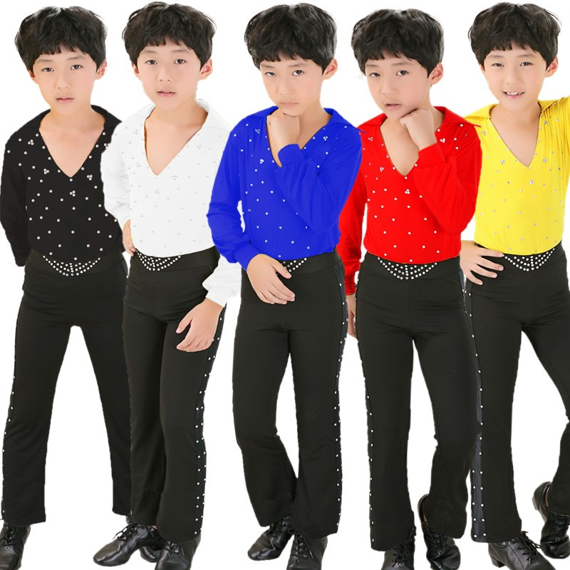 Boy's Latin Dance Shirt and Pants Classical Latin Ballroom Dancing Suit 5 Colors 110-160cm Wholesale Free Shipping