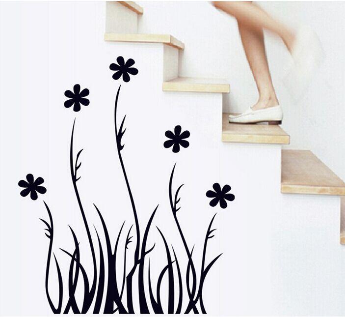 Buy high quality black grass flowers skirting line diy removable art vinyl wall - Wall flower design ...