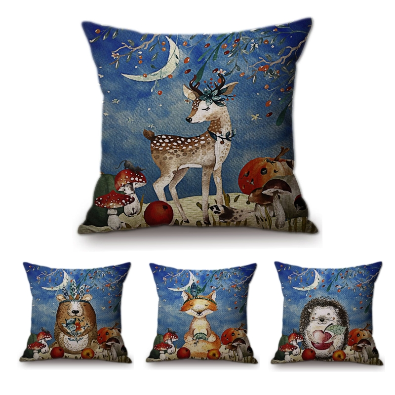 Modern Watercolor hedgehog Fox in Autumn Sofa Throw Pillow cases Cotton Linen Fox Deer in Winter Forest Home Decor Cushion Cover