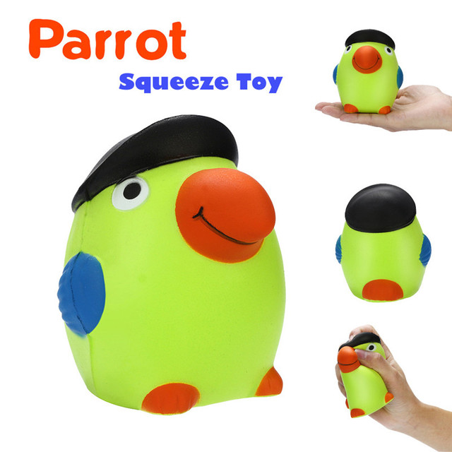 1pc  Stress Reliever Scented Super Slow Rising Kids Toy Animal Parrot  squash wipes anti-stress Cute chancery Toy For Kid A1