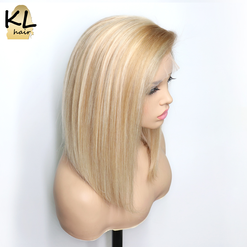 KL P18/613 Lace Front Human Hair Wigs Brazilian Remy Hair Transparent Lace Straight Bob Wig For Women Pre Plucked With Baby Hair-in Human Hair Lace Wigs from Hair Extensions & Wigs    1